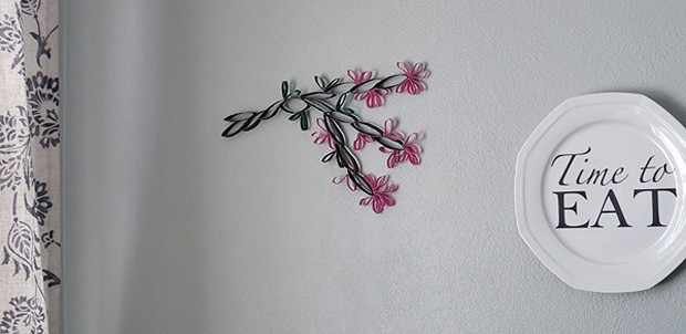 Cardboard Tube Wall Art: Cherry Blossoms
