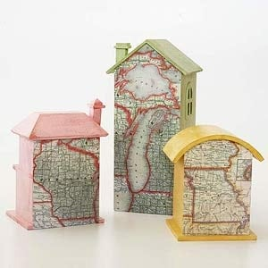inspiration for Road Map Birdhouses from CraftsbyAmanda.com @amandaformaro