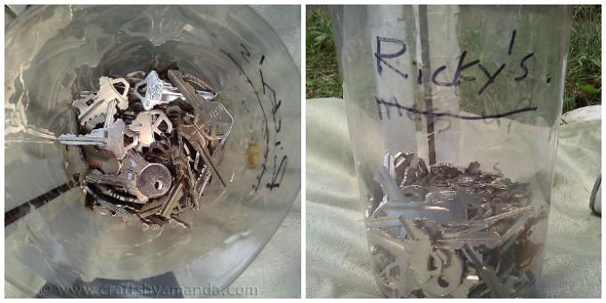 Recycled key garden markers key bucket