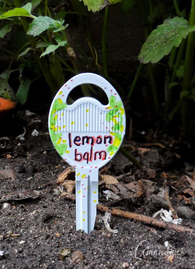 Recycled Key Garden Markers Lemon Balm