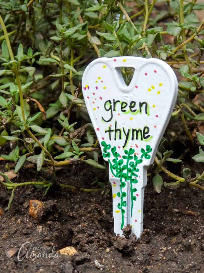 Recycled Key Garden Markers Green Thyme