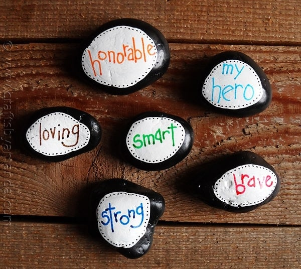 Painted stones with uplifting words