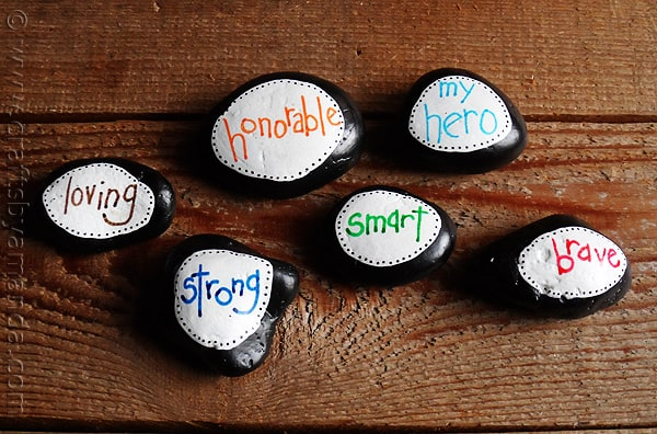 Painted stones with words