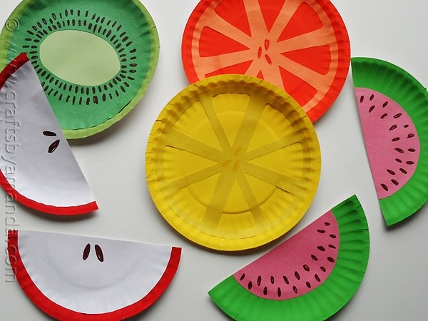 Christmas decorations using paper plates - Paper Plate Fruit Crafts By Amanda