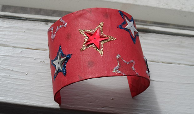 Patriotic Cardboard Tube Bracelet