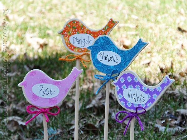 Birdy Flower Markers for Your Garden at CraftsbyAmanda.com @amandaformaro