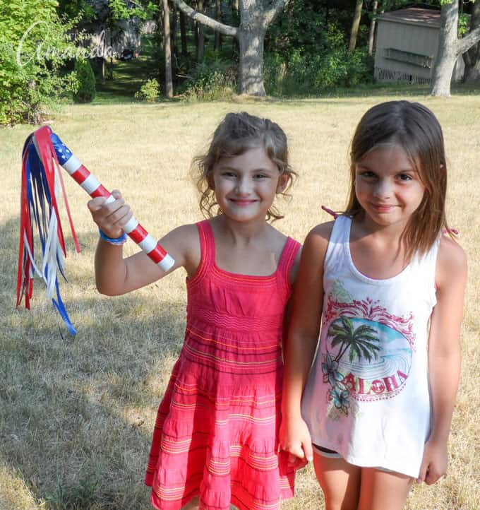 Kids holding Patriotic Duct Tape Parade Sticks