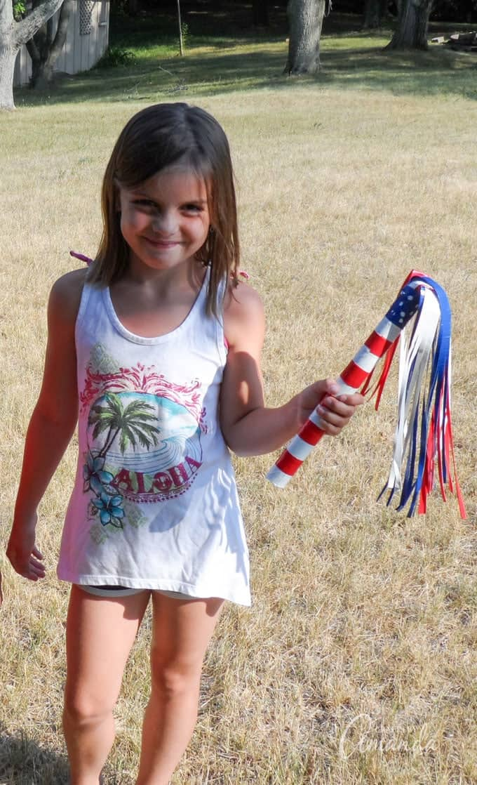 Wave your Patriotic Duct Tape Parade Stick at the next Fourth of July or Memorial Day parade!
