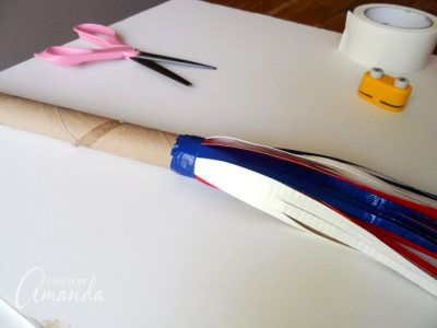How to make a patriotic duct tape parade stick step 7