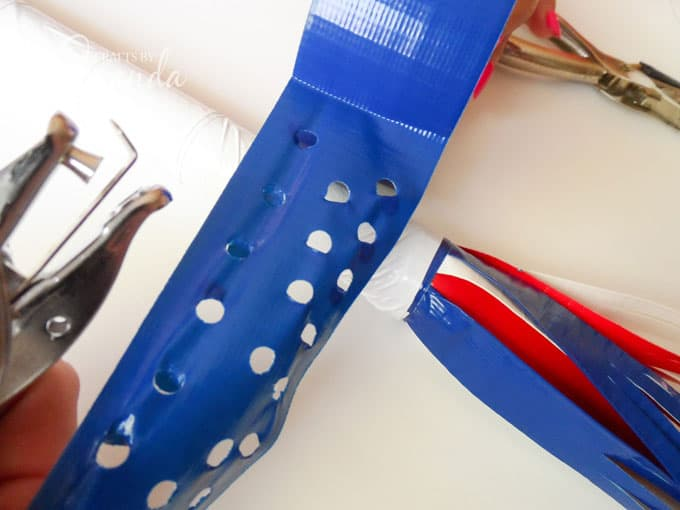 How to make a patriotic duct tape parade stick step 8