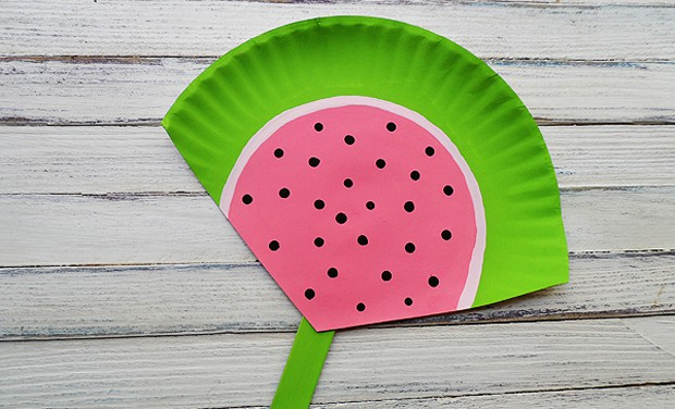 Paper Plate Watermelon Fan