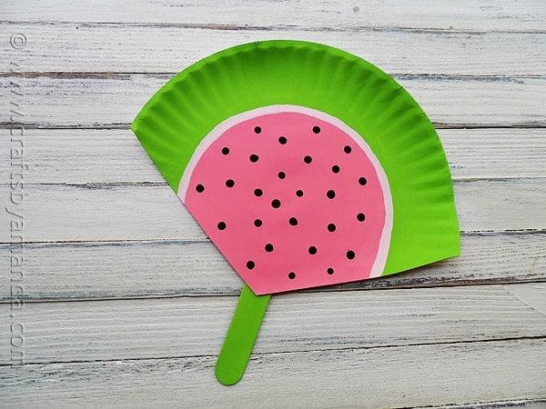 Paper Plate Watermelon Fan at CraftsbyAmanda.com @amandaformaro