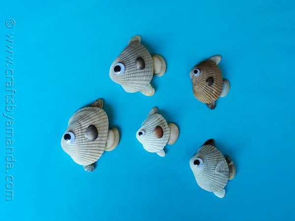 How to Make Seashell Fish at CraftsbyAmanda.com @amandaformaro