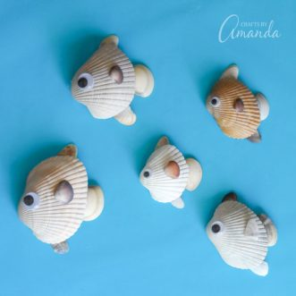 Turn your beach findings into a cute seashell fish craft this summer. Hang the seashell fish in a shadowbox for a fun memento to look back on.