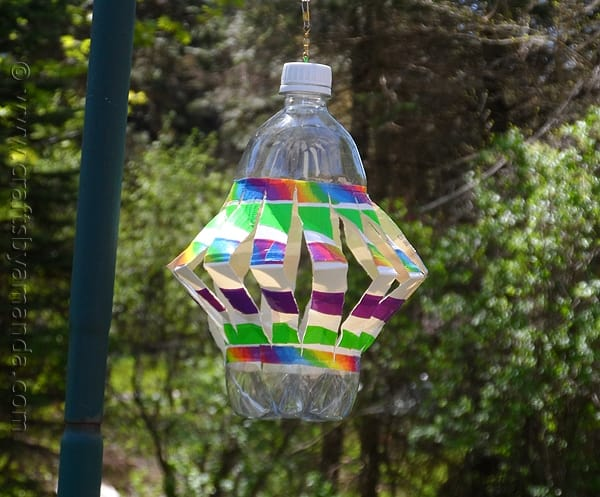 recycled plastic bottle wind spinner with colorful duct tape