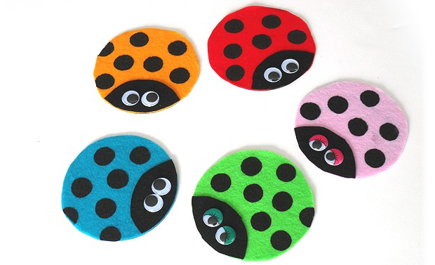 Recycled CD Ladybugs