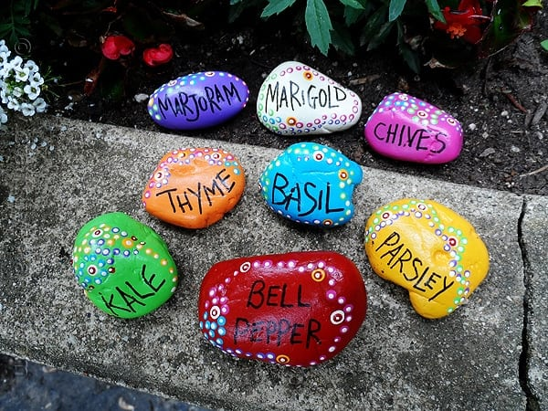 These Beautiful Rock Garden Markers Have Been Painted With Special Outdoor  Paint. They Look Beautiful