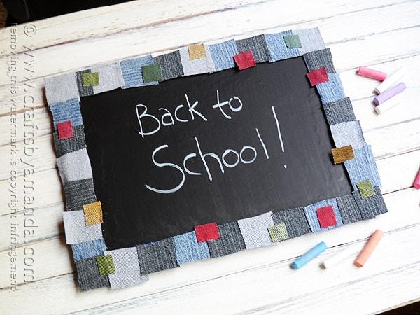 Denim Mosaic Chalkboard Crafts By Amanda