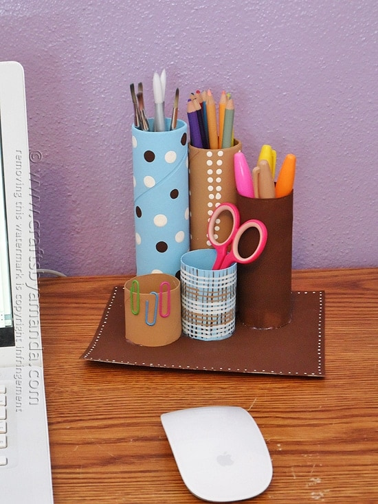 Recycled cardboard tube desk caddy crafts by amanda for Recycle toilet paper rolls crafts