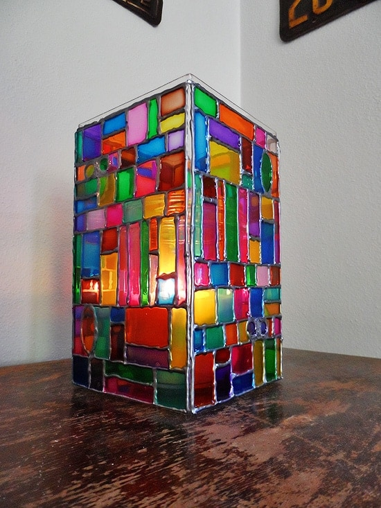 Faux Stained Glass Mosaic Luminary by @amandaformaro - Crafts by Amanda
