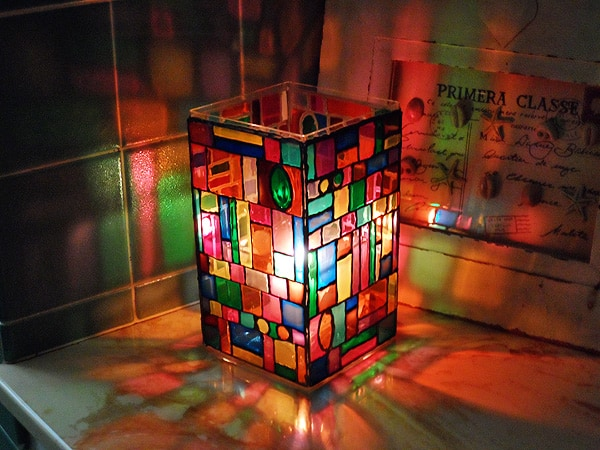 Faux stained glass mosaic luminary crafts by amanda for Acrylic windows cost