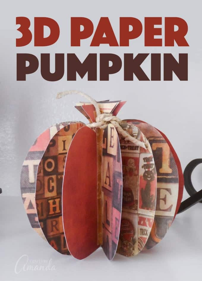 Using fall or Halloween themed cardstock you can easily create this 3D paper pumpkin to display in your home for fall or Thanksgiving! #thanksgivingcenterpiece #papercrafts #pumpkincrafts #3dpapercraft #fallcrafts #scrapbookpaper