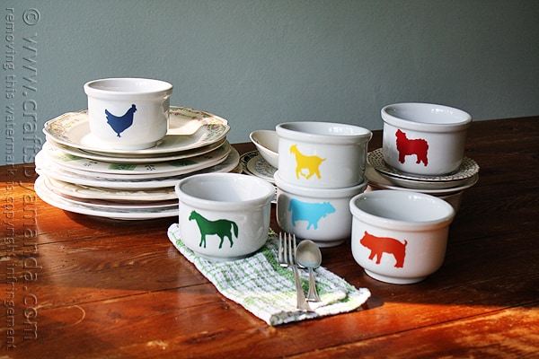 Farm Animal Bowls @amandaformaro Crafts by Amanda