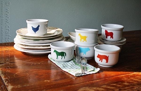 Farm Animal Bowls @amandaformaro Crafts by Amanda
