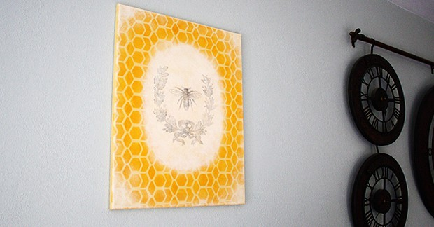 Vintage French Bee Wreath on a Honeycomb Canvas