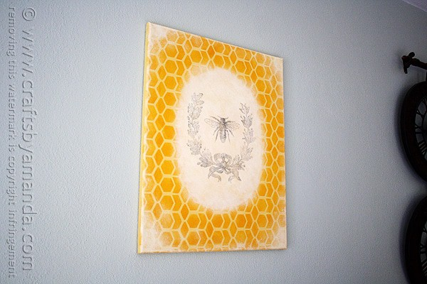 Vintage French Bee & Wreath on a Honeycomb Canvas by @amandaformaro CraftsbyAmanda