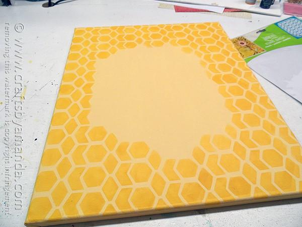 Vintage French Bee & Wreath on a Honeycomb Canvas by @amandaformaro CraftsbyAmanda