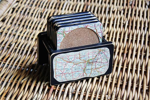 Distressed Map Coasters - upcyle ugly old coasters into something cool! Crafts by Amanda