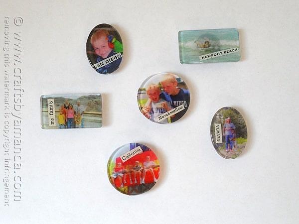Family Photo Magnets on fridge