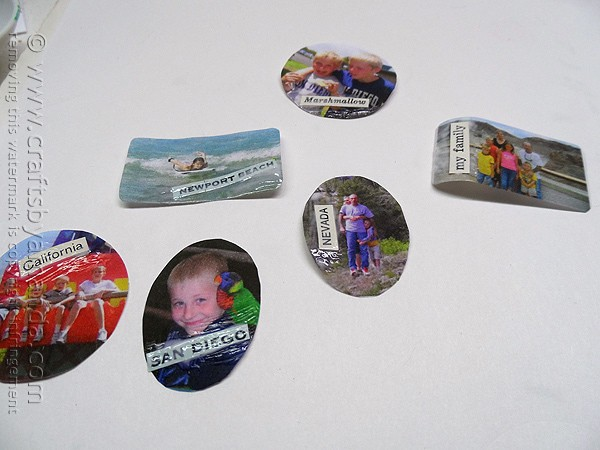 attaching words to cut out photos using decoupage medium