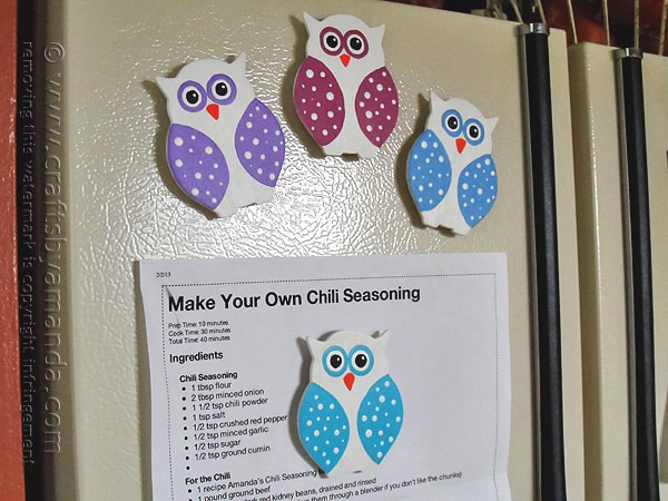 Polka dot owl magnets crafts by amanda for Small magnets for crafts