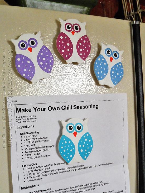 Polka Dotted Owl Magnets @amandaformaro Crafts by Amanda