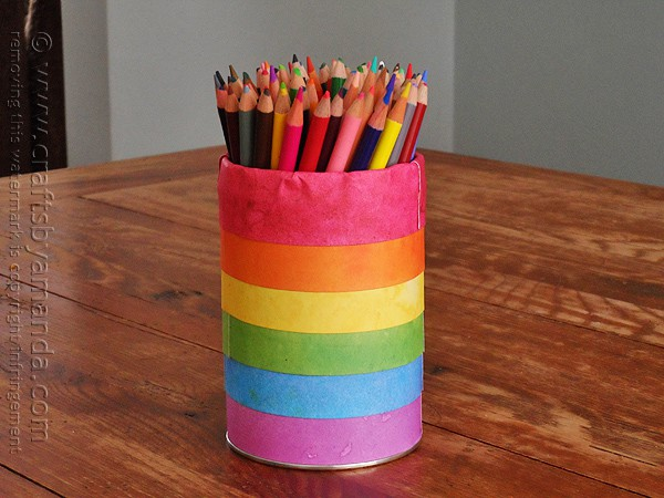 Rainbow Pencil Holder Can @amandaformaro Crafts by Amanda