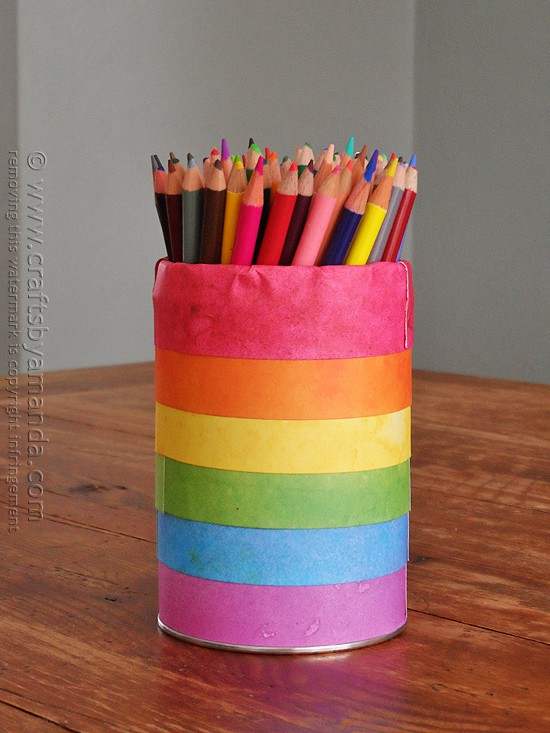 Rainbow pencil holder can crafts by amanda Cool pencil holder ideas
