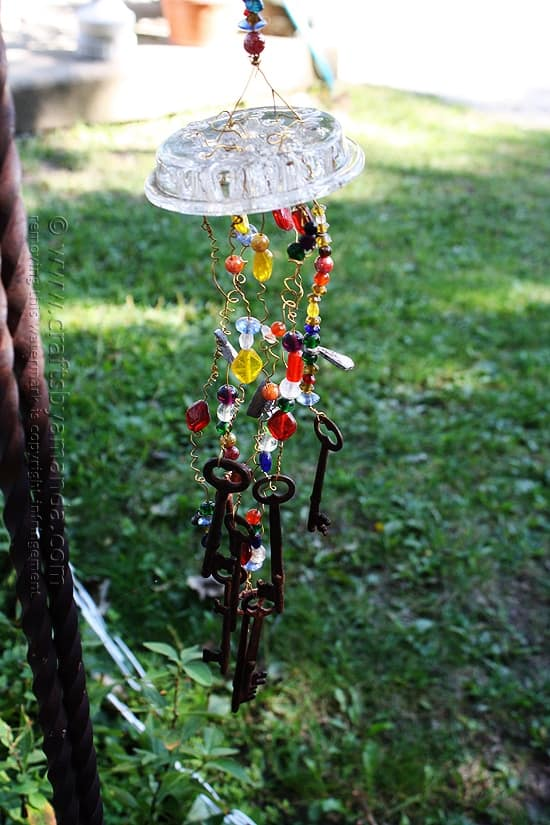 decorative wind chime made with keys and beads