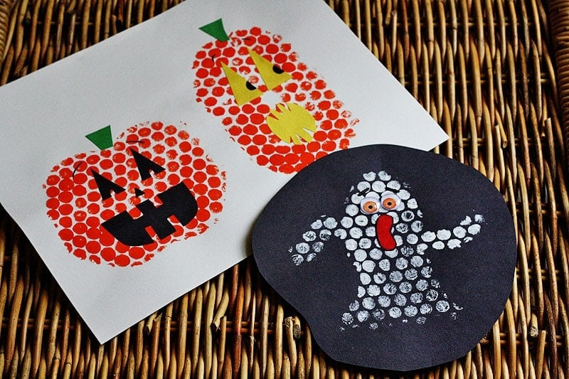 Bubble Wrap Stamping for Halloween