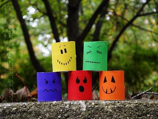 Make Colorful Ghouls from Cardboard Tubes @amandaformaro Crafts by Amanda