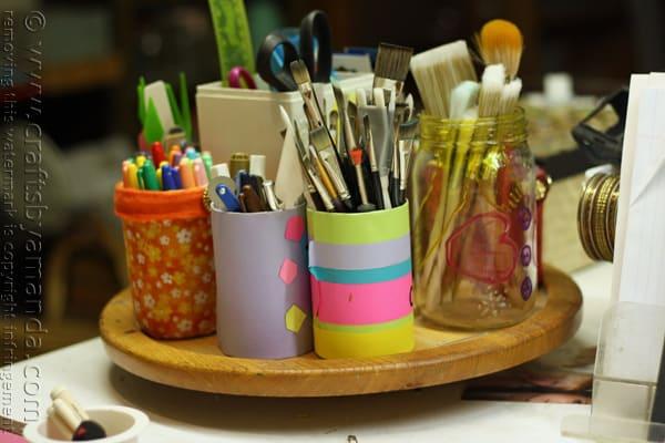 Craft Room Lazy Susan Makeover @amandaformaro Crafts by Amanda