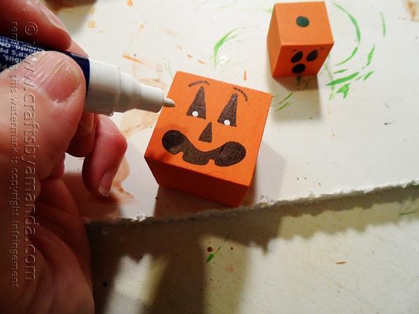 Jack O'Lantern Wooden Blocks by @amandaformaro Crafts by Amanda