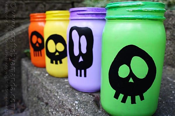 Colorful Skull Luminaries for Halloween @amandaformaro Crafts by Amanda