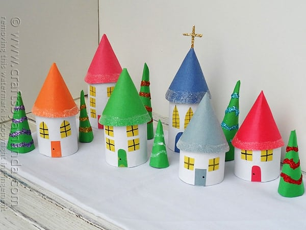 Cardboard Tube Christmas Village by @amandaformaro Crafts by Amanda