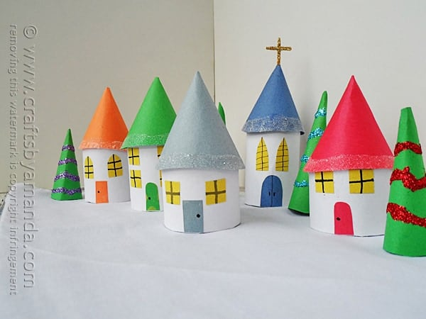 Cardboard tube christmas village crafts by amanda for Where to buy cardboard tubes for craft