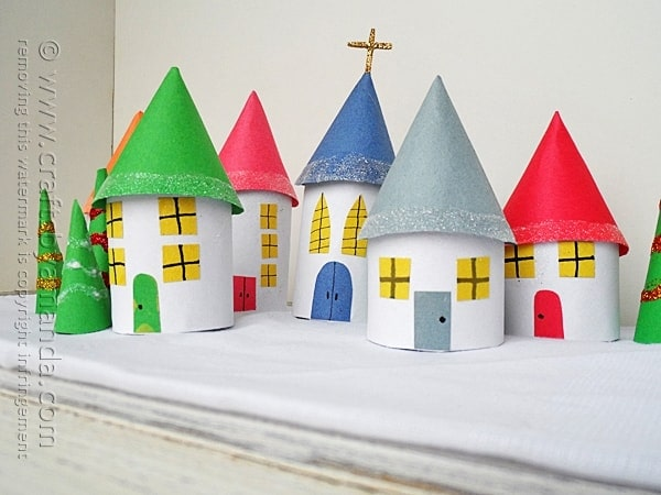 Cardboard tube christmas village crafts by amanda for Holiday crafts with construction paper