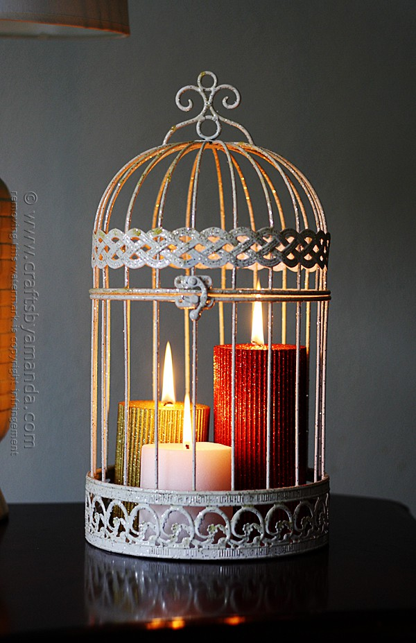 Glitter Candles in a Bird Cage @amandaformaro Crafts by Amanda