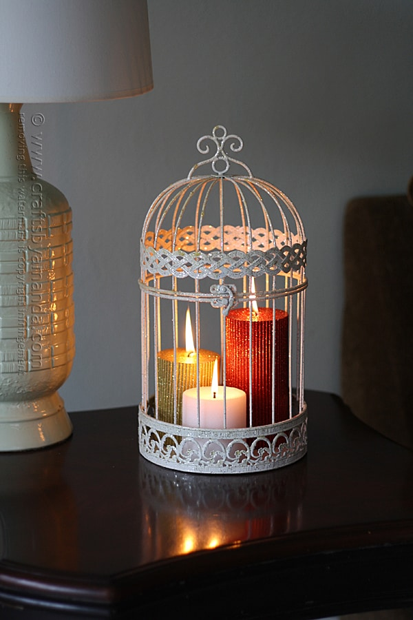 Glitter Candles in a Bird Cage @amandaformaro Crafts by Amanda