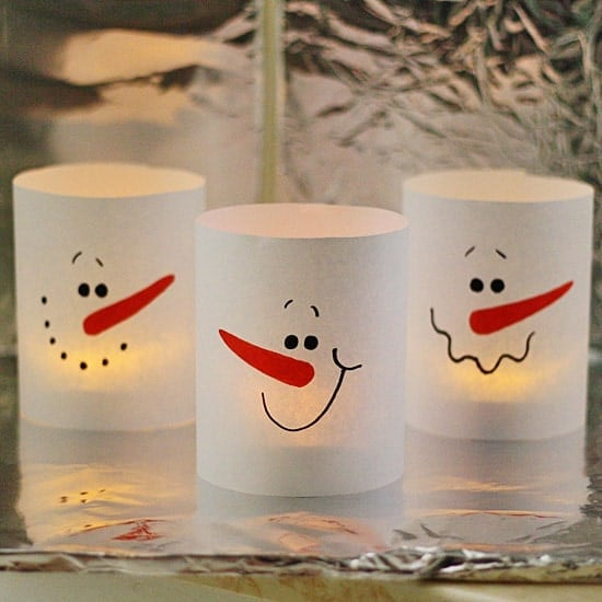 3 Minute Paper Snowman Luminaries by @amandaformaro Crafts by Amanda